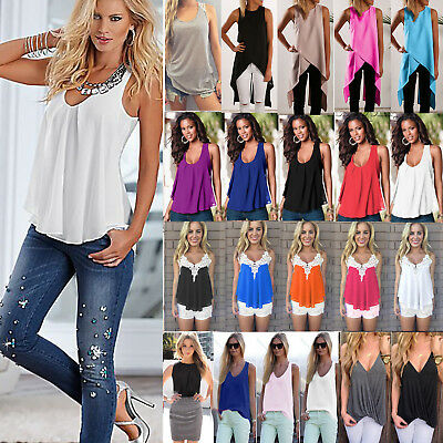 AU Womens Summer Chiffon Sleeveless Vest Tank Tops Shirt Ladies Blouse Plus Size