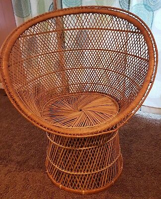 Adult Bamboo Wicker Chair Peacock Hollywood Regency Rattan Vintage Basket OHIO