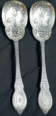 Superb Victorian Sheffield Silver Plated Berry Spoons, John Round & Sons c 1865