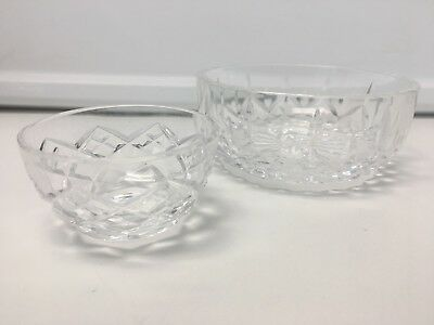 WATERFORD Clear Cut Crystal Lismore Pattern Set of 2 Candy Nuts Bowls Dishes SR