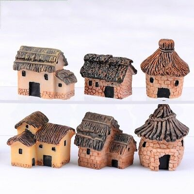 Resin Small Thatched House Hut Fish Tank Aquarium Ornament Home Decoration NEW