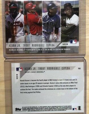 2018 Topps NOW MLB 763 Ronald Acuna Jr Mike Trout Alex Rodriguez Cepeda Sp 963