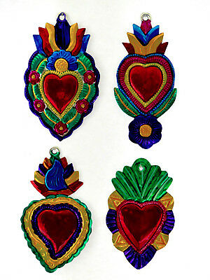 4 Large Tin Ornaments Mexico Sacred Heart Milagros  Colorful Mexican Folk Art