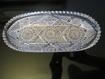 Fine Antique American Brilliant Period Crystal Cut Glass Celery Bowl Dish ABP!