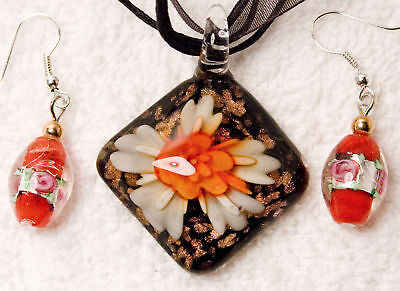 jewelry set new RED art glass crystal earrings pendant necklace silver