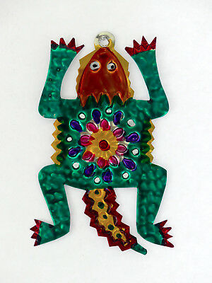 Hand-Punched Tin Ornament | Lizard Iguana Southwest | Colorful Mexican Folk Art