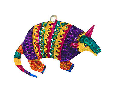 Mexican Punched Tin Ornament Armadillo Southwest Colorful Folk Art Mexico