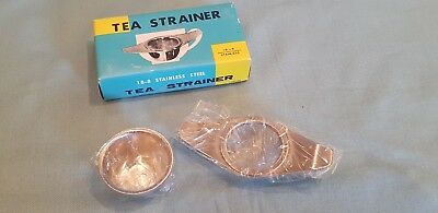 Vintage/Collectable 18-8 Stainless Steel Tea Strainer With Drip Dish-BNIB