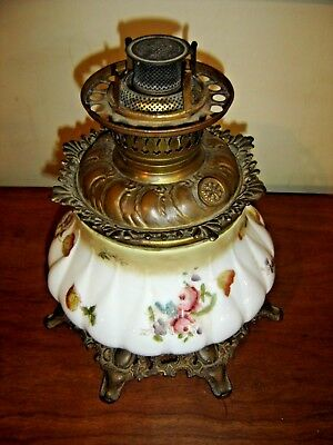 Antique Hand Painted GWTW Lamp Base ~ American Lamp Co. Milk Glass Embossed 9614