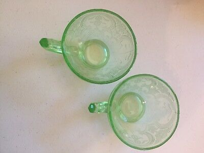 Vintage Indiana Glass Green Depression Vaseline Glass Horseshoe Pattern Tea Cup