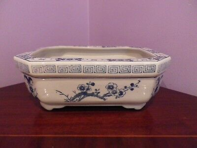 Vintage Chinese Blue & White Flower Plant Pot 24 Cms Long,17 Cms Wide,9 Cms Tall