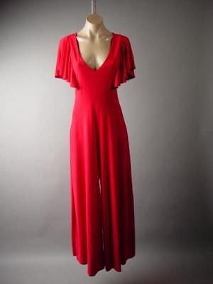 44b00e852a3 Red Ruffle Sleeve Cocktail Party Wide Leg Dress Pant 287 mv Jumpsuit 1XL  2XL 3XL