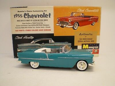 1955 Chevrolet Convertible by Monogram built  stock with flat box  Kit # PC83