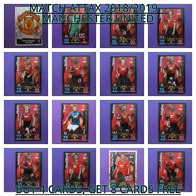 Match Attax 2018/2019 Premier League - Manchester United Base Cards #235 - #252