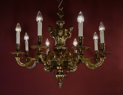 Bronze Very Heavy Solid Mazarin 8 Light French Chandelier Vintage Lamp Antique