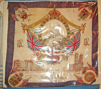 RARE June 1902 King Edward VII CORONATION SCARF, Westminster Abbey
