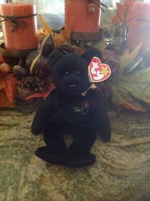 """Ty Beanie Baby """"The End"""" Black Bear 1999 with rare tag, new condition"""