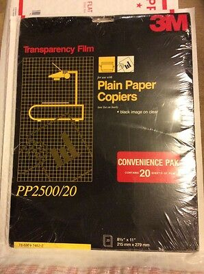 3M PP2500 20 Sheets  TRANSPARENCY FILM FOR PLAIN PAPER COPIERS New Sealed