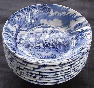 8 Myott Royal Mail Blue White Berry Dessert Bowls Staffordshire England