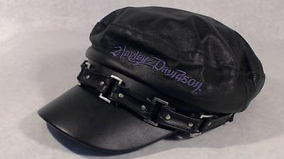 Harley Davidson Motorcycle Leather Hat Cabbie Newsboy Cap Purple Embroidered Lg