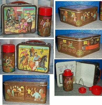 ++ 1965 Bonanza (brown) lunchbox and thermos set EX ++