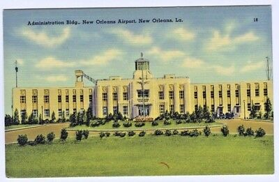New Orleans Louisiana Sushan Airport Administration Building Linen Postcard