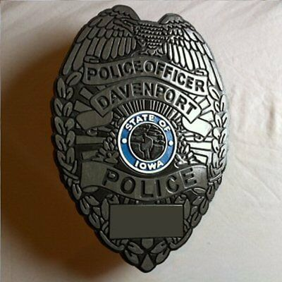 Police Davenport 3D routed carved custom wood patch plaque sign Custom