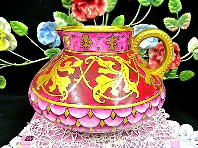 JP LIMOGES FRANCE stunning Fuchsia pink gold art Nouveau pitcher painted