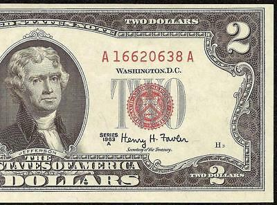 UNC 1963A $2 TWO DOLLAR BILL UNITED STATES LEGAL TENDER RED SEAL NOTE Fr 1514