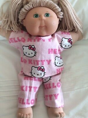 """DOLLS CLOTHES fit 16"""" CABBAGE PATCH  DOLL - Pyjamas. Pink Hello Kitty"""
