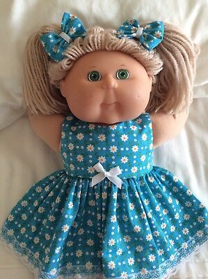 """DOLLS CLOTHES - DRESS & BOWS to fit 16"""" CABBAGE PATCH ~ Torquoise White Daisies"""