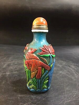 Chinese Antique coloured glaze Hand carved bird lotus snuff bottle