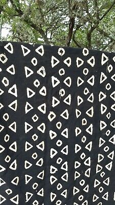 Vintage African Mud Cloth-Amazing Textile-Black with White Triangles 47x 75.5