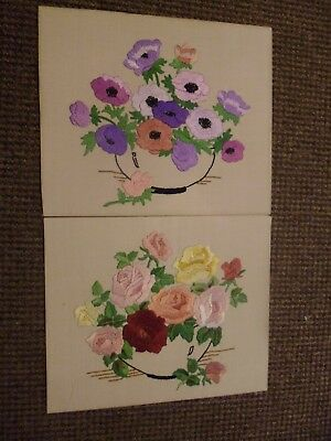 "2 Vintage hand embroidered floral pictures , 12"" x 10"""