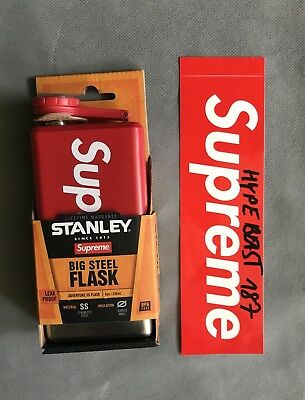 Supreme x Stanley Flachmann rot Box Logo Stainless Steel Flask Brand New In Red