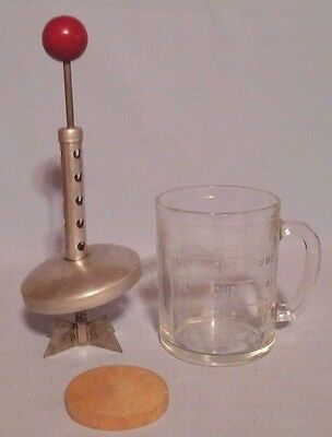 Vintage Anchor Hocking 1 Cup Food Chopper With Red Wooden Handle