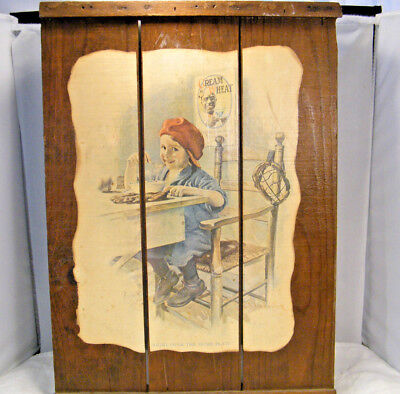 ANTIQUE 1923 CREAM of WHEAT Right Over The Home Plate WOOD CRATE BREWER AD SIGN