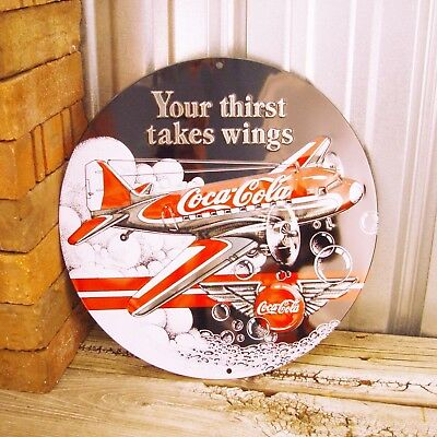 """Coke Coca-Cola Your Thirst Takes Wings DC3 Aviation Metal Tin Sign Vintage 14"""""""