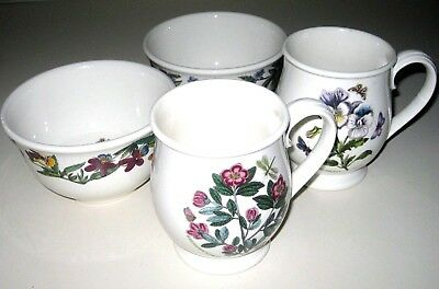 Lot of 4 PORTMEIRION Botanic Garden Cereal Bowls Bristol Mugs Pansy Rhododendron