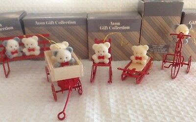 Avon TEDDY BEAR Ornament Collection in wagon, bench, sled, tricycle, rocker