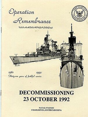 USS MACDONOUGH DDG-39 (5) Decommissioning books 10/23/92 US Navy destroyer