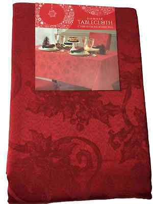 Christmas Ribbons Red Damask Poinsettia Tablecloth, Fabric Table Cloth 144 Ob