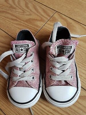 4ce9f517aa95 Girls Baby Infants Toddlers Low Top All Star Converse Trainers Size Uk 5