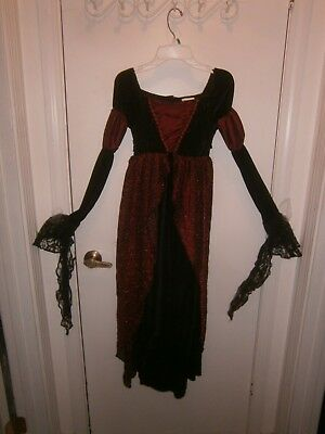Halloween Costume Child Witch Vampire Dress Long Lace Sleeves Size 10-12