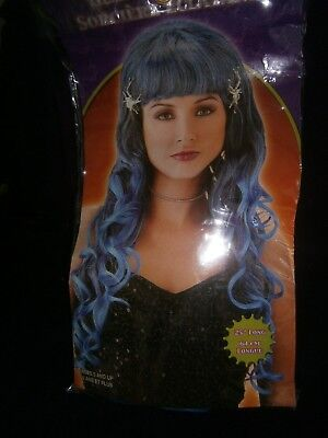 Halloween Costume NIP Glamour Witch Wig Long Blue Hair With Spider Clips 25 In