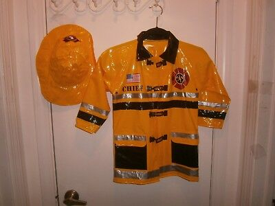 Halloween Costume Child Firechief Fireman Rescue Jacket & Hat size 5-6
