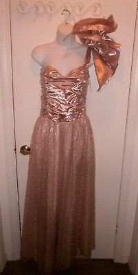Halloween Costume Vintage Gunne Sax Pink Lace Metallic Prom Dress Size 11