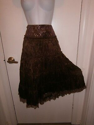 Halloween Costume Junior Dolled Up by Fang Tiered Peasant Skirt Gypsy Size L