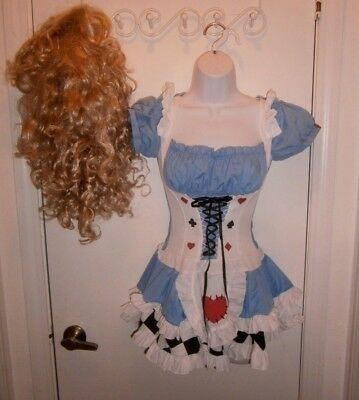 Halloween Costume Adult Deluxe Alice In Wonderland Alice Dress & Wig Size XS