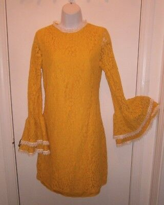 Halloween Costume Adult Vintage Yellow Lace Dress Little Mistress UK size 8